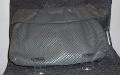 Vintage Dark Gray Weaved Leather Hinge pop opening clutch with ruffle accent and tuckable body strap-circa 1980's by CurvyGirlCrafting78 on Etsy
