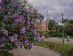 It is time of lilac. Field of Mars. Russian Painting, Great Paintings, City Art, Fields, Sidewalk, Artist, Lilacs, Mars, Bedroom