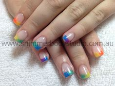 Gel Nails, Colourful Nails, Fluoro Nails, Rainbow Nails, Glitter Nail Art.