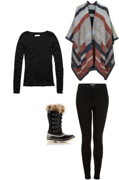 This looks SO stylish and comfy too! Cold weather style - cape and snow boots
