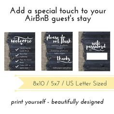 Looking for adding an extra touch to your guest's stay? This AirBnB Printable Set is a great addition to your rental unit to add value and be seen as an experienced, thoughtful host. This bundle includes 3 signs. One for the wifi password, one for the bathroom and another with welcome instructions. These printables would also be great for a bed and breakfast, vacation home or other short term rental.