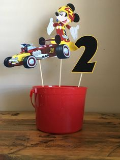 Mickey and the Roadster Racers Centerpieces by SDCreationsBoutique on Etsy https://www.etsy.com/listing/498185056/mickey-and-the-roadster-racers