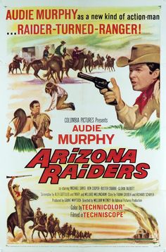 APACHE RAIDERS - Audie Murphy - Michael Dante - Ben Cooper - Buster Crabbe - Gloria Talbott - Directed by William Witney - Columbia Pictures - Movie Poster.