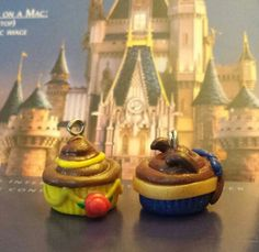 Belle, Beast, Beauty and the Beast cupcakes - polymer clay Can be purchased at www.facebook.com/eandlhandicraftcharms