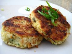 Smoked Fish Cakes with Spring Onion and Chive