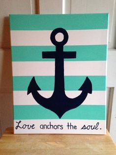 Anchor canvas painting // stripes // aqua and by SaltwaterShores