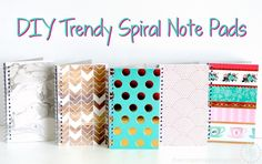 DIY Trendy Spiral Note Pads. Spruce up plain notebooks with this clever DIY covers idea from The Scrap Shoppe Blog
