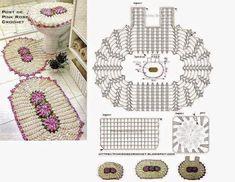 Dulcescreacionesdeary Set Of Bathroom Tissue Crochet Mat, Crochet Carpet, Filet Crochet, Crochet Stitches, Granny Square Häkelanleitung, Granny Square Crochet Pattern, Knitting Patterns, Crochet Patterns, Crochet Bedspread