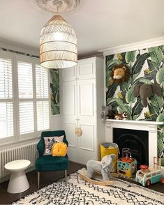 "Milton & King on Instagram: ""It's a jungle in there! 🌴🦒🦓🐒🌴Amanda @houselust is 9 months into this lovely #nursery space with little Otis and it seems to be handling…"""