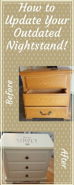 Update that older Oak Nightstand! Giving it a personal touch! #DIYFurniture #UpcycleNightstand #FurnitureUpdate.