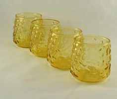 New to ChicMouseVintage on Etsy: 4 Lido Roly Poly Rock Glasses - Anchor Hocking - 8 Ounce - Honey Gold Color - Crinkle Texture  Mid Century (30.00 USD)