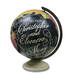Globe with couples name and date of the wedding. This would be a neat wedding gift.