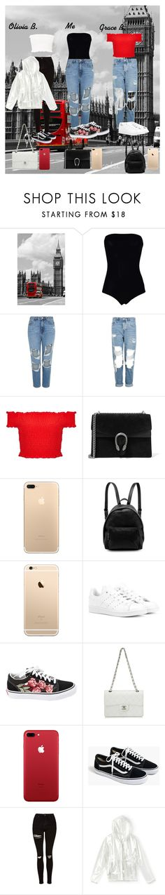 """With my England besties!!🍒"" by queen-bellaa ❤ liked on Polyvore featuring Maison Margiela, Topshop, Miss Selfridge, Gucci, STELLA McCARTNEY, adidas Originals, Vans, Chanel, J.Crew and Lacoste"