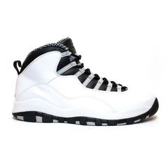 Air Jordan 10 Retro Steel Grey ❤ liked on Polyvore featuring shoes, retro inspired shoes, retro shoes and retro style shoes