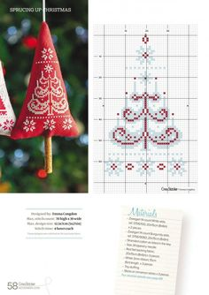 new ideas sewing patterns free christmas stitches Xmas Cross Stitch, Cross Stitch Christmas Ornaments, Christmas Cross, Cross Stitching, Cross Stitch Embroidery, Winter Christmas, Christmas Tree, Christmas Sewing, Christmas Embroidery