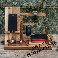 iPhone Table Idea For Dad Desk Organizer Gifts Him Men Brother Stand Charging Wood Dock Glasses Dark Organize Man Personalized Custom Gifts DESCRIPTION: Handy organizer is made of natural walnut wood for your everyday things! It looks great both on the desktop and at home. Here you can