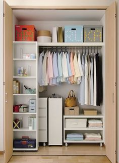 We are in love with this incredibly neat & clean master closet! Closet Storage, Closet Organization, Closet Bedroom, Bedroom Decor, Master Closet, Ideas Armario, Declutter Your Home, Walk In Closet, House Rooms