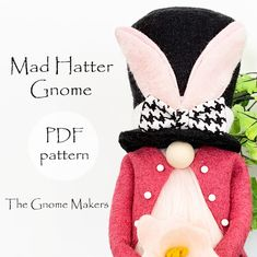 Gnome PDF Sewing Pattern MAD HATTER Fairy Tale pdf Gnome   Etsy Pdf Sewing Patterns, Free Sewing, Sewing Tutorials, Gnome Costume, Gnome Tutorial, Felt Ornaments Patterns, Mad Hatter Hats, Handmade Market, Craft Free