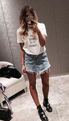 summer style. denim mini skirt. white tee. ankle buckle boots.