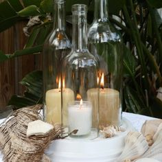 wine bottle candles for centerpieces | Wedding centerpiece White Triple Wine Bottle Candle Holder Hurrican ...