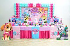 Arte Alegria Decorações Infantis: Patrulha Canina (menina) Puppy Birthday Parties, Bunny Birthday, Birthday Party Themes, 3rd Birthday, Paw Patrol Birthday Decorations, Paw Patrol Birthday Theme, Rose, Mickey Mouse, Charlotte