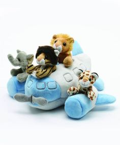 """he 12"""" Airplane with Animals is a 12"""" commercial style jet plane with 4 mini stuffed animals. The animals, a lion, tiger, giraffe and elephant, are easily removable and are surface washable."""