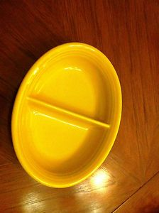 "Homer Laughlin Vintage Yellow Fiestaware Divided Serving Dish 10"" by 73 4"" 