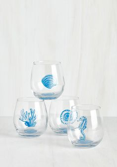 Welcome Helm Wine Glass Set. Little is more heartwarming than coming home to find your roomie has prepared dinner and drinks in these stemless wine glasses! #multi #modcloth