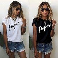 Women cute star letter gray T-shirt vintage camisas femininas basic short sleeve shirts Casual slim brand tops plus size Kiss Shirt Designs, Lady, Casual T Shirts, Casual Tops, Casual Dressy, Casual Clothes, Casual Chic, T Shirts For Women, Clothes For Women