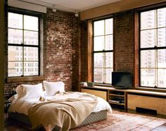 Ali Matt were keen to keep some exposed brick, not only for the design element but to retain some of the history of the Pumping Station. Here is some inspiration for your own exposed brick wall! Loft Living, Bedroom Apartment, Home, Bedroom Interior, Rustic Bedroom, Bedroom Design, House Design, Brick Wall Bedroom, House Interior