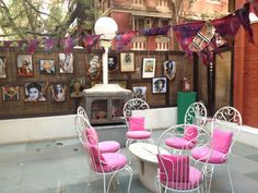 Pink patio furniture in the courtyard at Bombay Electric (India's first concept store for a distinctly Indian platform on fashion and design) - located in Mumbai
