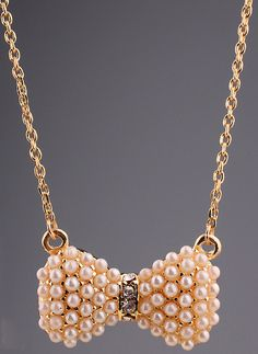 Gold Diamond Pearls Bow Necklace US$7.83