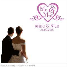 Wandtattoo Hochzeit - Herz mit Mr. and Mrs.