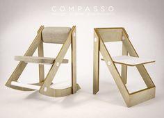 Formabilio - Compasso è una sedia pieghevole (o un dondolo) dal sapore artigianale. Pannelli multistrato accoppiati che facendo perno su elementi di metallo permettono la rotazione.