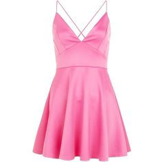 AX Paris Pink Plunge Neck Skater Dress ($23) ❤ liked on Polyvore featuring dresses, vestidos, cocktail dress, pink, fit and flare mini dress, plunging neckline dress, pink dress, ax paris dresses and pink skater dress