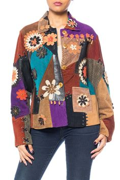 0afbf32be0857 Courderoy Patchwork Jacket with Suede Flowers