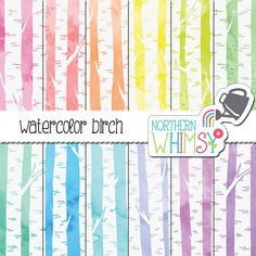 Watercolor Digital Paper - birch scrapbook paper with hand drawn tree patterns on pastel watercolor backgrounds - commercial use