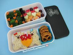 Bento School Lunches: Review: Monbento Original Bento Box. Bears In Love Valentine's bento