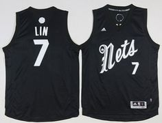 84a430e75 Nets  7 Jeremy Lin Black 2016-2017 Christmas Day Stitched NBA Jersey