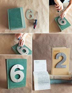 DIY Books and House Number table numbers.