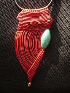 Necklace    Artemussa Designs.  Macramé with bronze and turquoise beads