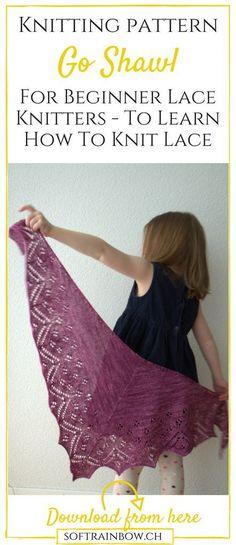 Lace shawl | beginner knitting pattern                                                                                                                                                                                 More