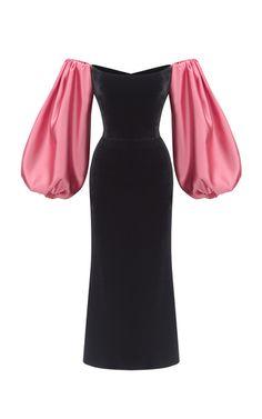 Rasario Puffed Sleeve Satin And Silk-Blend Velvet Midi Dress Velvet Midi Dress, Look Fashion, Fashion Design, Mode Outfits, Dream Dress, Classy Outfits, Pretty Dresses, Dress To Impress, Ball Gowns