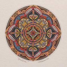Around me. Lize Beekman Mandala art. hand drawn with ink on paper.