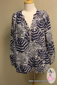 Lilly Pulitzer long-slv blouse, size LARGE 100% silk, navy and white print Pulls on over head, 3 gold buttons at chest Elasticized wrists $35.00