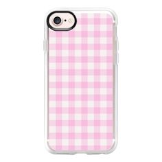 Blush pink white gingham 80s classic picnic pattern - iPhone 7 Case... ($40) ❤ liked on Polyvore featuring accessories, tech accessories, phone, iphone case, iphone cases, apple iphone case, pattern iphone case, clear iphone case and white iphone case