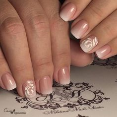 It's a delicate and sensual variation on the theme of french manicure in a gradient design. The combination of soft flesh-colour with a rich milky white co