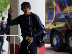 Neymar JR. of FC Barcelona waves to the audience as he arrives to Estadio Ramon Sanchez Pizjuan before the La Liga match between Sevilla FC and FC Barcelona on April 11, 2015 in Seville, Spain.