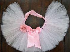 READY TO SHIP Pink Newborn Photo Prop Tulle Tutu by 1583Designs  infant portraits satin open waist tutu rose ribbon white