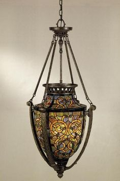 art nouveau stained glass light